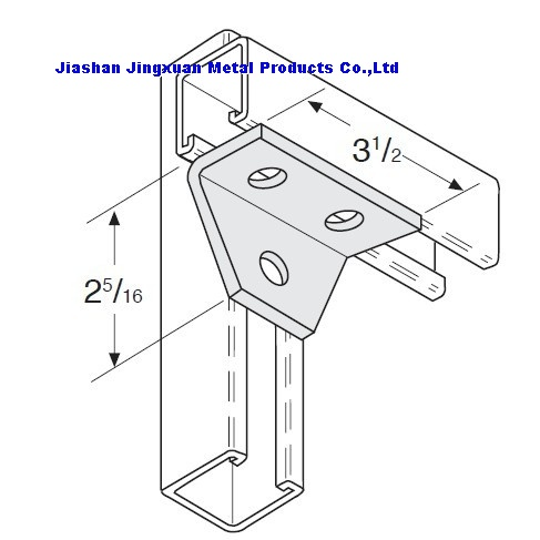 3 Hole Gussetted Shelf Angle Strut Fitting